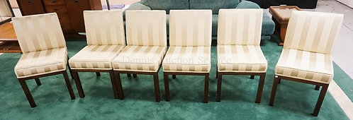 SET OF 6 UPHOLSTERED DINING CHAIRS.