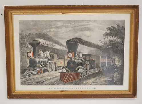 CURRIER & IVES LITHO *THE LIGHTNING EXPRESS TRAINS - LEAVING THE JUNCTION*. 35 1