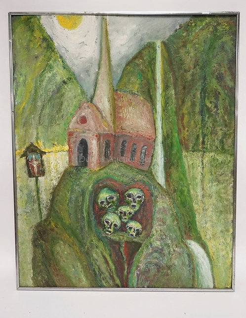 MCM OIL PAINTING ON BOARD OF A CHURCH ON A HILL WITH SKULLS BELOW. 23 1/2 X 29 1