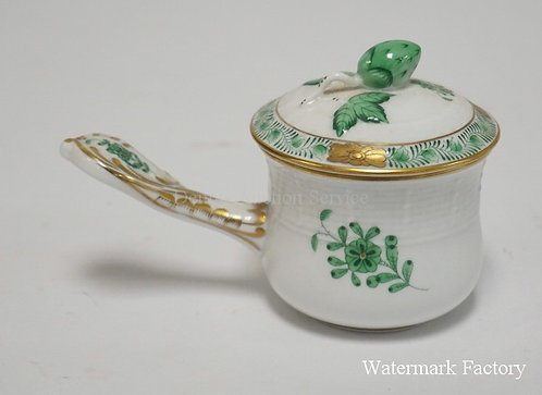 HEREND PORCELAIN *CHINESE BOUQUET* POT DE CR�ME WITH LID. 5 INCHES LONG.