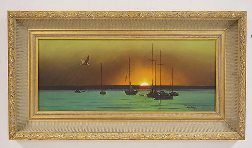 STANLEY M. ZUCKERBERG (1919-1995) OIL PAINTING ON BOARD OF A SUNSET OVER BOATS I