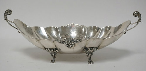 HAND HAMMERED .800 SILVER BOWL. MELON RIBBED SIDES, FOOTED, AND HAVING OPENWORK