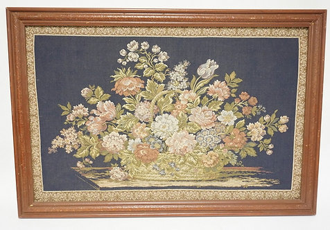 FRAMED FLORAL TAPESTRY. 37 1/4 X 25 1/4 INCHES OVERALL.