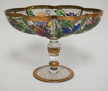 HAND PAINTED BOHEMIAN CRYSTAL COMPITE WITH A MELON LOBED BOWL ON A PEDESTAL FOOT