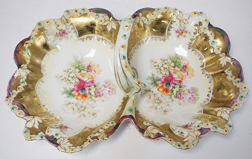 RS GERMANY PORCELAIN SERVING DISH WITH 2 WELLS AND A CENTRAL HANDLE. FLOWER DECO