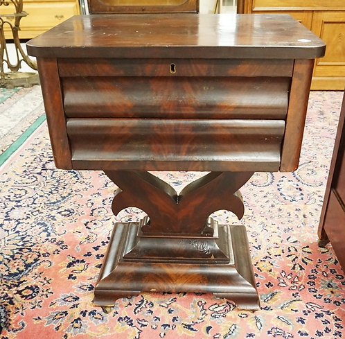 EMPIRE MAHOGANY TWO DRAWER STAND. 23 IN X 15 3/4 IN, 30 1/2 IN H