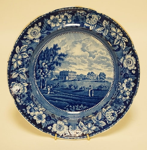 ANDREW STEVENSON HISTORIC BLUE TRANSFERWARE PLATE HAVING A PASTORAL SCENE INCLUD