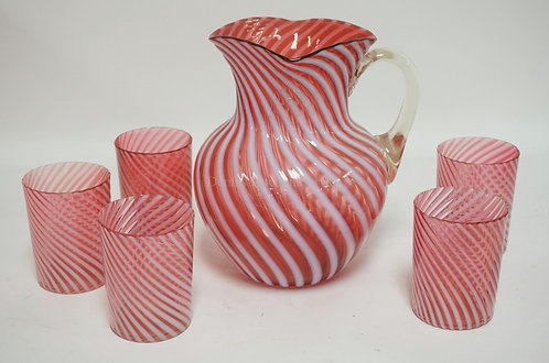 CRANBERRY OPALESCENT SWIRL 6 PC WATER SET. TWO TUMBLERS HAVE RIM CHIPS (ONE OF T