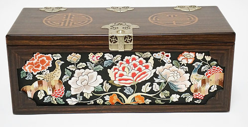 ASIAN INLAID AND FINELY EMBROIDERED BOX WITH A LIFT OUT TRAY ON THE INTERIOR. 15