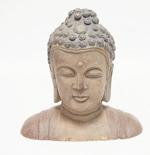 CARVED WOODEN BUDDHA BUST. 11 3/4 INCHES HIGH.