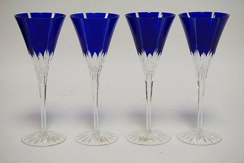 SET OF 4 HUNGARIAN COBALT BLUE CUT TO CLEAR STEMMED WINE GLASSES. 8 3/4 INCHES H