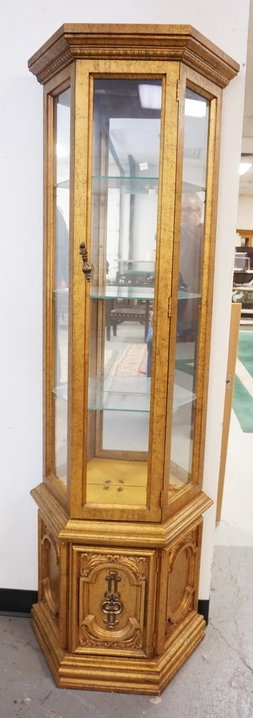 CURIO CABINET WITH A LIGHTED INTERIOR, GLASS SHELVES, AND A MIRRORED BACK. 72 IN