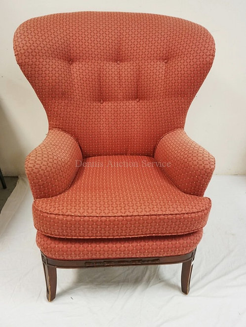 DREXEL HERITAGE UPHOLSTERED BALLOON BACK WING CHAIR WITH A CARVED FRAME.