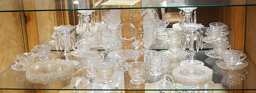 34 PIECES OF CAMBRIDGE *ROSEPOINT* ELEGANT ETCHED DEPRESSION GLASS. INCLUDES CAN