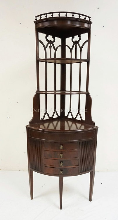 4 DRW MAHOGANY CORNER WHAT NOT SHELF WITH TURNED SPLINLE GALLERY. 25 1/2 IN WIDE