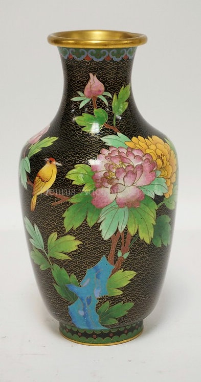 CLOISONNE VASE DECORATED WITH A BIRD AND FLOWERING BRANCHES. 10 1/4 INCHES HIGH.