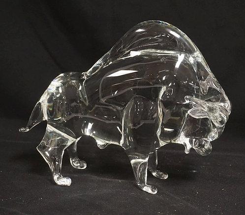 ZANETTI BLOWN ART GLASS BUFFALO MEASURING 8 3/4 INCHES HIGH AND 11 1/2 INCHES LO