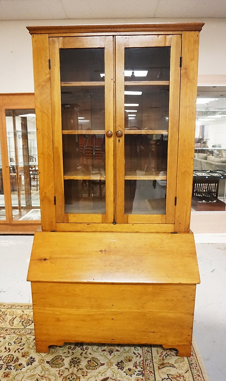 ANTIQUE LIFT TOP FEED BIN WITH ABOOKCASE TOP HAVING 2 GLASS DOORS. 40 INCHES WID