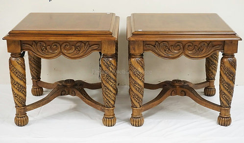 PAIR OF CARVED END TABLES WITH STRETCHER BASES. 26 X 28 AND 25 1/2 INCHES HIGH.