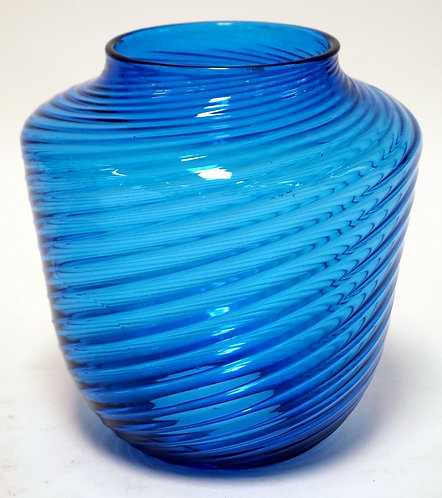 BLUE SWILRED GLASS HANGING GLASS SHADE. 7 1/2 INCHES HIGH.