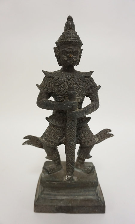 ASIAN BRONZE WARRIOR. BASE CEMENT FILLED. 11 IN H