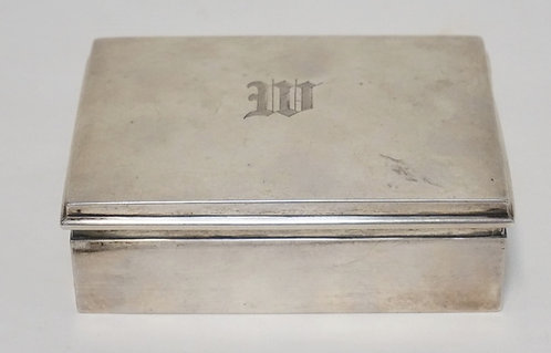 STERLING SILVER BOX. WOOD LINED. MONOGRAM ON THE LID. 4 3/4 X 3 1/2 AND 1 3/8 IN