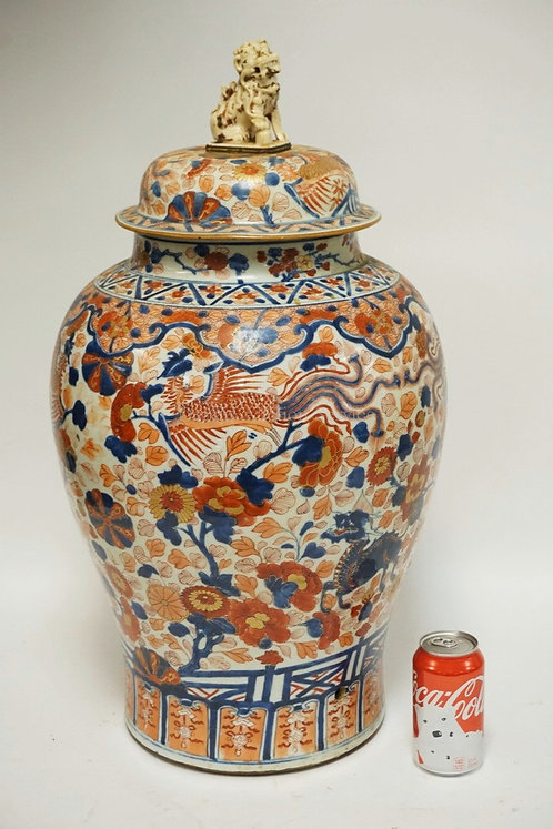 LARGE ASIAN PORCELAIN FLOOR URN WITH LID. POLYCHROME DECORATIONS INCLUDING DRAGO