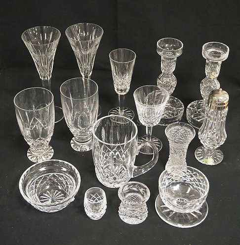 15 PIECES OF ASSORTED WATERFORD CUT CRYSTAL. INCLUDES A PAIR OF MILLENIUM TOASTI