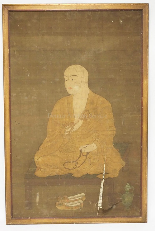 17TH/18TH CENTURY OR EARLIER CHINESE PIGMENT ON PAPER PORTRAIT PAINTING OF A BUD