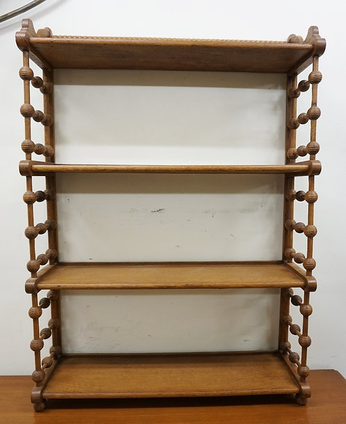 OAK STICK AND BALL 4 TIER HANGING WHAT NOT SHELF. 25 3/4 IN WIDE, 36 1/2 IN H