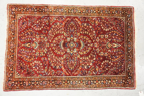 ANTIQUE ORIENTAL THROW RUG MEASURING 3 FT 3 INCHES X 4 FT 10 INCHES.