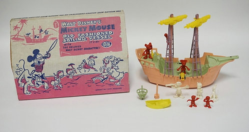 1950'S IDEAL WALT DISNEY'S MICKEY MOUSE OLD FASHIONED SAILING VESSEL TOY #4038.