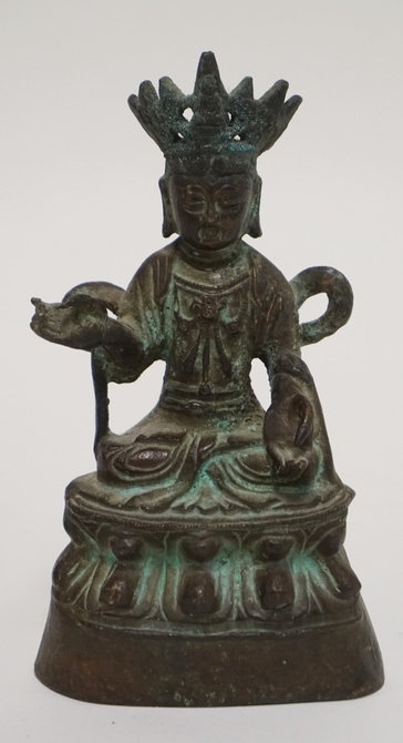BRONZE BUDDHA FIGURE MEASURING 6 INCHES HIGH.