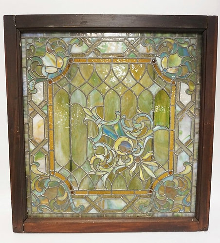 EXCEPTIONAL ANTIQUE LEADED GLASS WINDOW MEASURING 31 1/2 X 33 1/2 INCHES.