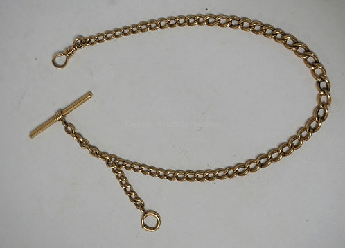 14K GOLD WATCH FOB. 25.40 DWT. 13 1/2 INCHES LONG. UNMARKED & TESTED.