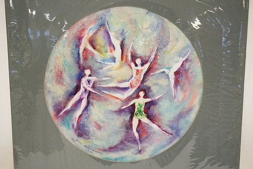 JEAN SCHONWALTER ACRYLIC PAINTING OF DANCERS. SIGNED AND DATED 1988. 13 1/2 INCH