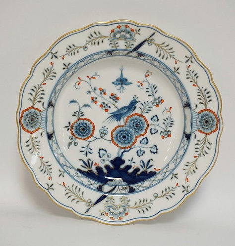 MEISSEN PORCELAIN BOWL DECORATED IN BLUE, ORANGE, AND GOLD AND HAVING A BIRD AMO