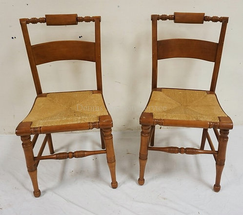 PAIR OF COUNTRY CHAIRS WITH RUSH SEATS.