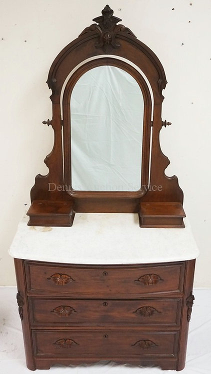 VICTORIAN WALNUT MARBLE TOP DRESSER WITH MIRROR. CARVED DRAWER PULLS. 38 1/2 INC