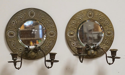 PAIR OF BRASS CANDLE SCONCES WITH BEVELED MIRRORS AND BANDS OF RAISED FLORAL DES