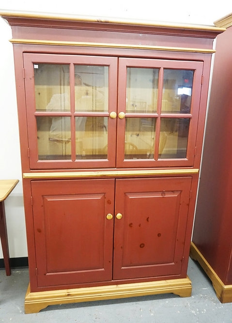 COUNTRY STYLED CHINA CABINET. PINE WITH RED PAINT. 72 INCHES HIGH. 47 1/2 INCHES