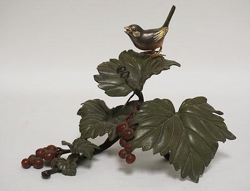 JAPANESE BRASS SCULPTURE IN THE FORM OF A BRANCH WITH LEAVES AND BERRIES HAVING