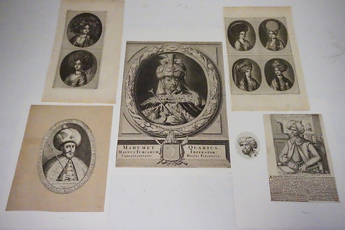 LOT OF 6 ANTIQUE ETCHINGS. INCLUDES JACOB GOLE *SULTAN MOHAMMED IV OF TURKEY*, A