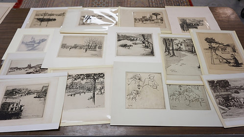 LOT OF 15 ANTIQUE ETCHINGS. MOSTLY PENCIL SIGNED. MOSTLY BY EUG. BIJOT. LARGEST