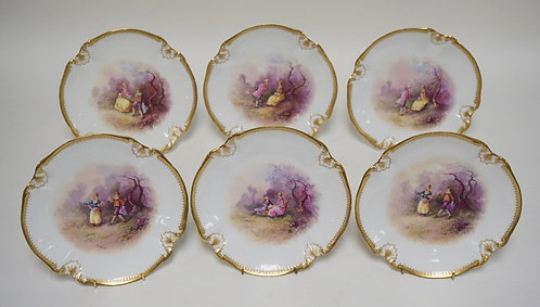 SET OF 6 MARTIAL REDON LIMOGES HAND PAINTED PORCELAIN PLATES. EACH ARTIST SIGNED