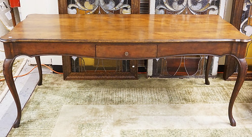 BAKER FURNITURE WALNUT HARVEST TABLE WITH ONE DRAWER. 7 1 X 31 INCH TOP. 29 1/2
