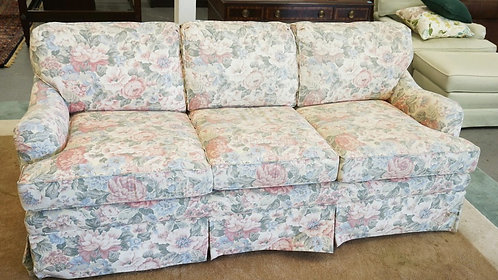 ETHAN ALLEN FLORAL SOFA BED MEASURING 80 INCHES LONG.