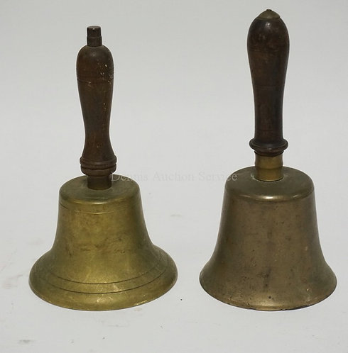 LOT OF 2 ANTIQUE BRASS BELLS WITH TURNED WOODEN HANDLES. TALLEST IS 10 3/4 INCHE