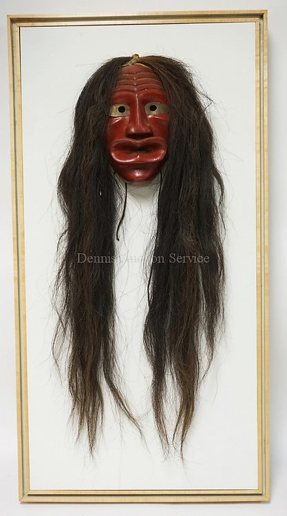 OLDER IROQUOIS FALSE FACE MASK. CARVED WOOD WITH HORSE HAIR AND BRASS EYE PLATES