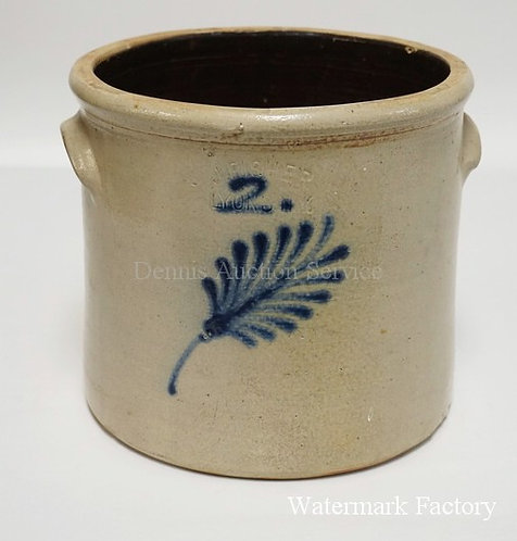 BLUE DECORAED STONEWARE CROCK. J. FISHER. LYONS NY. HAS HAIRLINES. 9 INCHES HIGH